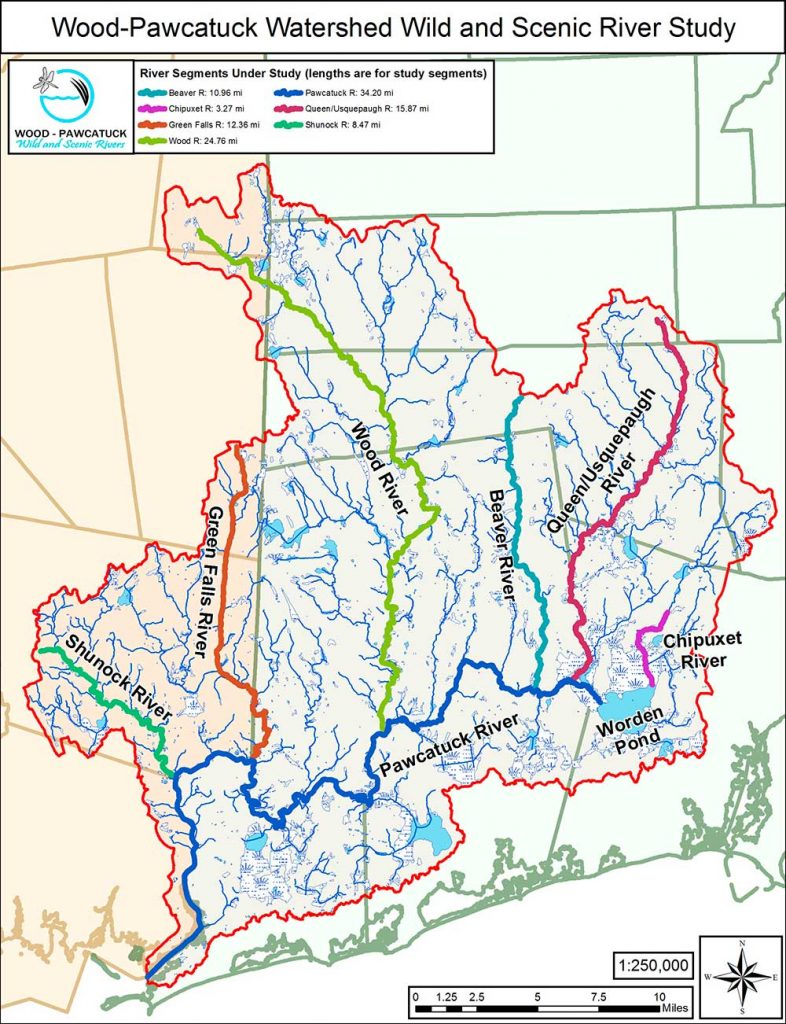 Map of the Wood-Pawcatuck Watershed showing the Wood and Pawcatuck Rivers, as well as the smaller tributary rivers